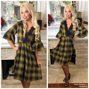 🛍NEW! Mustard Plaid Flannel Crochet Detail Dress!